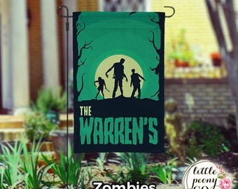 Personalized Halloween Garden Flag - Monsters of All Hallows Eve Yard Flag
