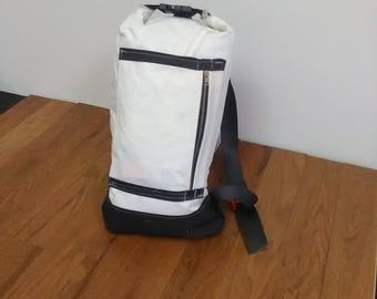 Handmade Backpack, Sailcloth, Seatbelt Strap, Upcycled, Recycled, Repurposed material.