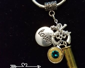22 caliber bullet keychains with Egyptian  gem stone