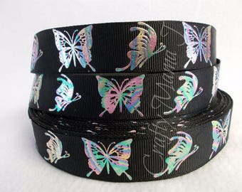 "Butterflies in Rainbow Metallic Foil 7/8"" Grosgrain Ribbon by the yard. Choose between 3/5/10 yards."