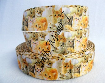 "Last Cut of Lots of Cats on 1"" Grosgrain Ribbon 10 yards. Kittens, group of cats is a clowder. So many cats"