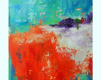 Summertime - Bright warm colors landscape painting Mixed media on watercolor paper  - Affordable art