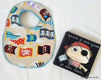 """the bib """"Little Pirate"""" playful and practical and too funny!"""