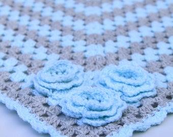Handmade crochet blue and grey rose blanket