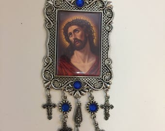 Framed Wall Hanging Religious Tapestry Jesus and Madonna & Child Icon Crucifix Cross US SELLER