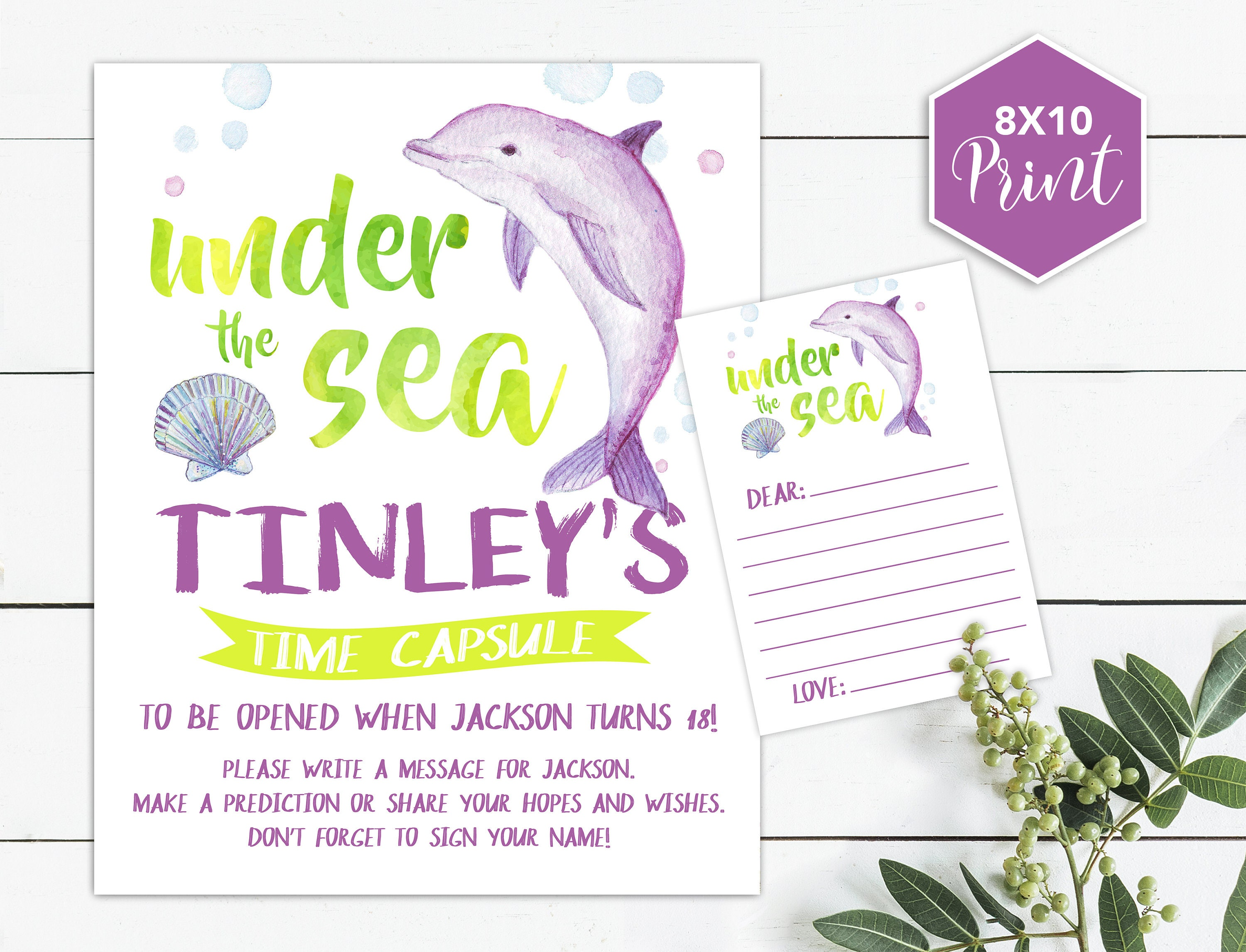 Dolphin Time Capsule, Under the Sea, Birthday Time Capsule, First ...