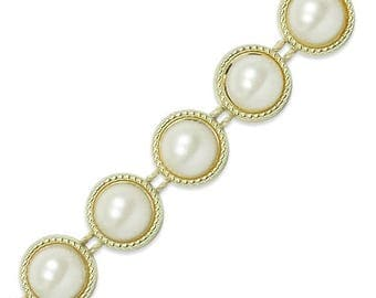 Expo 5 yards of Meeka Flat-Back Gold Pearl Trim 1/2""