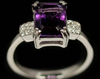 Ring in 925 silver plated white gold amethyst and Zirconium