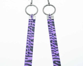 Purple Zebra Print Punk Earrings
