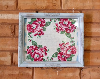Distressed Framed Vintage Hanky