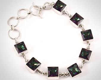 Mystic quartz silver bracelet