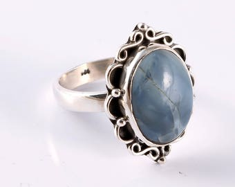 Blue opal 92.5 sterling silver ring size 7 us