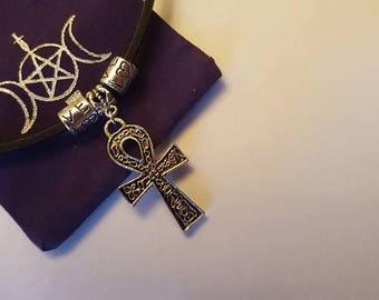 ankh pendant on leather choker  ,