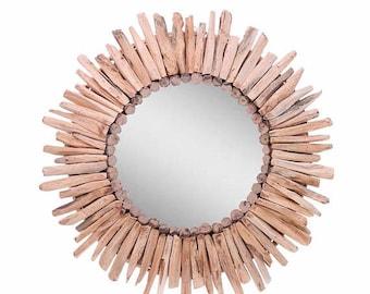 "ON SALE Davina Home Handmade Wooden Sunburst Wall Mirror, Handmade Wall Mirror, 24"""