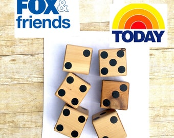 Yardzee, Outdoor game, large wood dice, tailgating, Giant dice, lawn Games, Camping games, Memorial Day, 6 dice, fun bbq games, today show