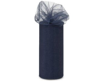 Navy, Tulle, 6 inches by 25 yards,Great floral and gift netting ribbon. Tulle Ribbon  One Roll