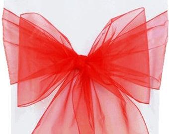 Chair Sashes,  10 Red   Organza Chair Sashes,  wedding organza chair sashes, chair bows, chair ties.