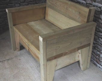 Chunky Wide Edging Wooden Sofa Bench
