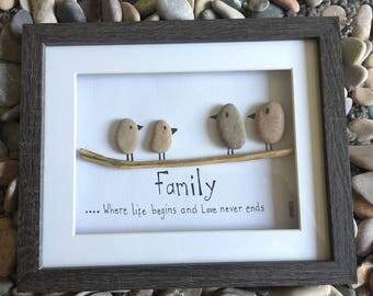 Pebble art - family - bird family