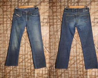 Vintage Diesel Jeans with original patina character , 31 waist , Diesel Straight Leg Jeans , Denim Pants , Mid Rise Jeans Diesel Industries