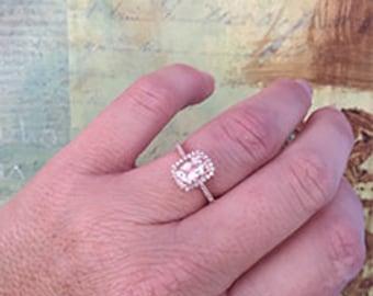 1.35ct Cushion Cut Halo Morganite Engagement Ring 14k Rose Gold Gemstone Promise Bridal Ring For Women