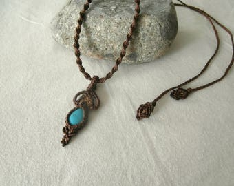 Macrame with semi precious Turquoise stone necklace