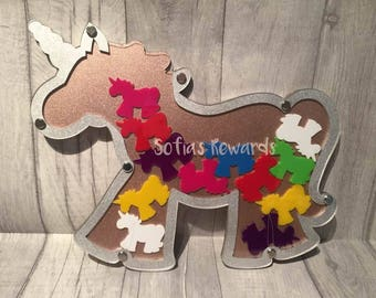 Personalised reward unicorn plaque chart jar any colours