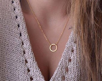 Delicate Gold Color Ring Necklace