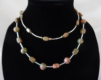 Rhodonite Necklace with Silver Accents