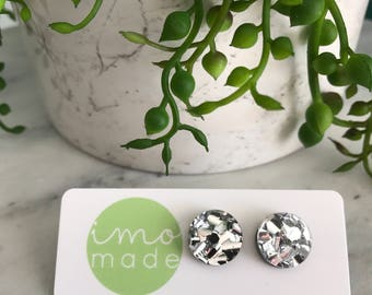 Sparkly silver studs