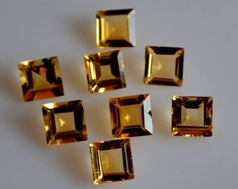 5 mm AAA citrine square  faceted - top grade gemstone AAA quality