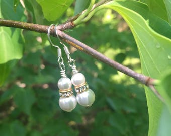 Swarovski pearl earrings with gold spacers