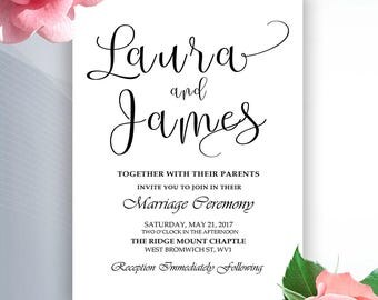 Wedding Invitation - Printable Wedding Invitation - Calligraphy Wedding Invitation - Script Wedding Invitation - BLACK5x7WI2
