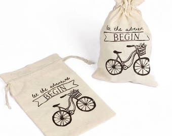 LET the ADVENTURE BEGIN Bicycle Muslin Favor Chocolate Gift Bags Set of 10 Wedding Reception Table Decor Favors New Baby Shower