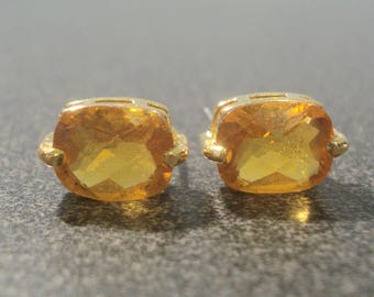 Pierced Earrings with Amber Stones and Gold Tone Trim