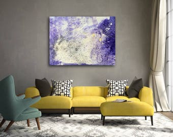 Wits End, experimental large canvas abstract purple ready to hang modern big huge beige
