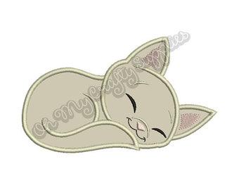 Sleeping Kitten Applique Design