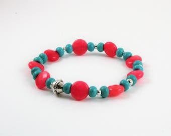 Coral and Teal Elastic Bracelet