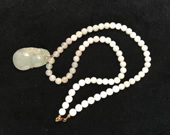 Icy jadeite jade pendant and beads necklace