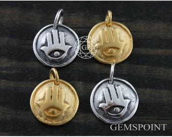 Hamsa Hand Charm w/Evil Eye at Center on a Circle, Hamsa Hand Charm w/Jump Ring, Silver Hamsa Charm, Gold Hamsa Charm, Evil Eye Charm (2-40)