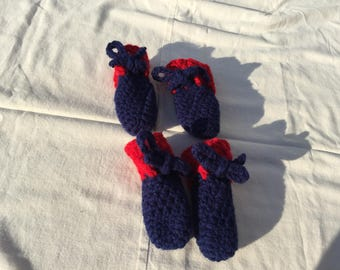 Pet shoes booties etsy crochet dogpet bootiesshoes in navy blue and red for medium to large ccuart Images