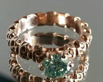 1.05 ct green moissanite skull ring 14kt rose gold GRAND OPENING SALE