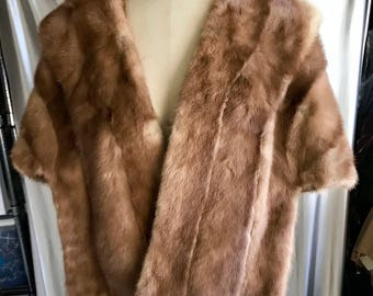 50's Style Palamino Mink Stole with Collar