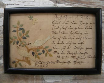 Antique Framed Art dated 1839, Embroidered Birds. Beautiful Handwriting, not english, maybe German? Postcard Folkart Ephemera