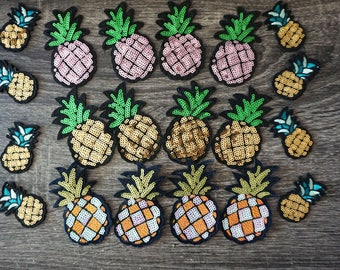 Shining pineapple sequin iron on patches, fruit patch, denim patch, jacket patch, hat patch, dress patch, DIY