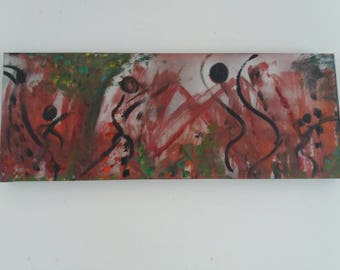 """Abstract Acrylic Art Original Painting on Canvas, """"The Dance"""""""