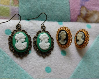 Set of Two Vintage Cameo Earrings