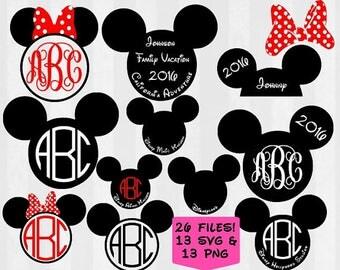 Mickey Monogram Frame, Mickey head svg, Minnie Mouse SVG, svg files, clipart,Silhouette,cricut, vinyl, Disney world, disneyland, epcot
