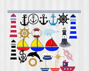 Nautical Clip art, Nautical birthday, Anchor, sailboad, marine, Digital Clip Art, PNG, Nautical Clip art, Nautical clipart, DIY, printable