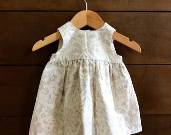 Baby Sundress - Baby Girl Dress, Handmade in Soft Cream & Gray Cotton with a Vintage Inspired Flora and Fauna Pattern